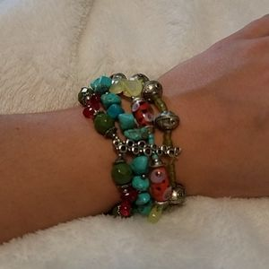 Chico's multi strand elastic beaded bracelet